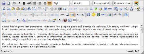 system CMS, edytor WYSIWYG, zaawansowany