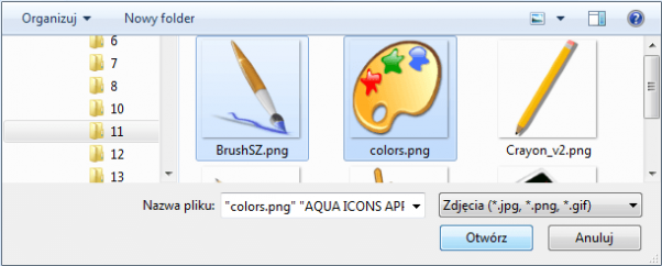 system CMS, uploader plików, wybór